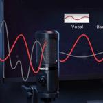 กราฟิกแสดงการทำงานของไมโครโฟน Maono AU-PM461TR เป็นภาพของคนที่กำลังพูดใส่ไมโครโฟน และมีกราฟคลื่นเสียงแสดงเสียงของคนพูด และเสียงแบ็กกราวด์