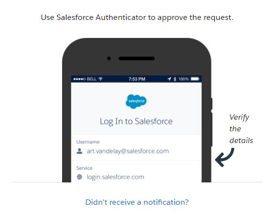 หน้าจอแจ้งให้ทำการยืนยันตัวตนผ่านแอป Authenticator ของ Salesforce