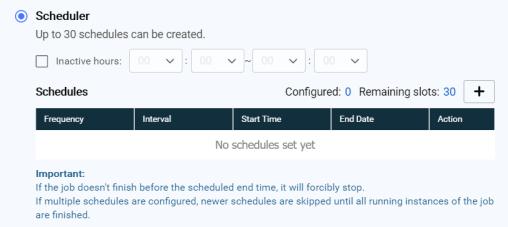 หน้าจอการตั้งค่าเมื่อเลือกกำหนดการซิงก์เป็น Scheduler
