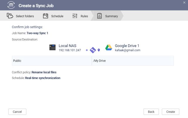 หน้าจอ Create a Sync Job ในส่วนของการสรุปการตั้งค่าของ Sync job