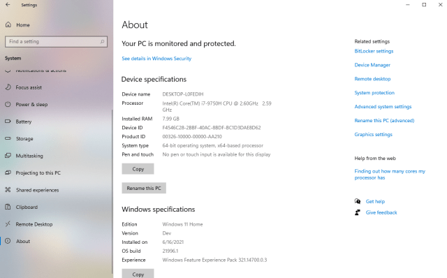 หน้าจอ About ของ Windows 11 Home