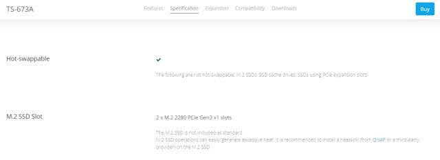 ส่วนหนึ่งของ Hardware specification ของ QNAP TS-673A ที่แสดงให้เห็นว่าสเปกของ SSD คือ M.2 2280 PCIe Gen 3 x 1