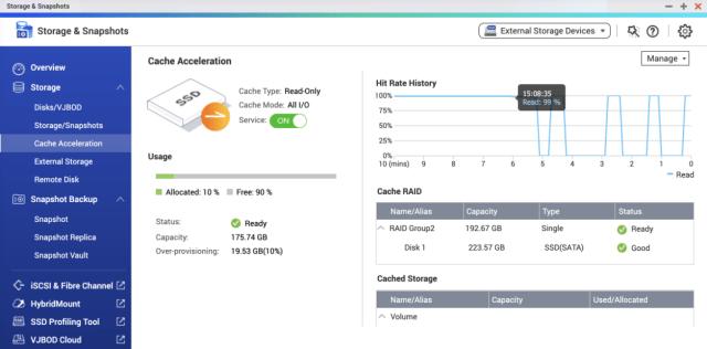 หน้าจอการตั้งค่า SSD cache acceleration ของ QNAP NAS