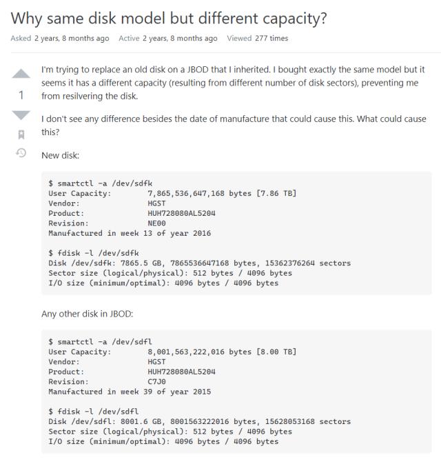 ภาพของคำถามบนเว็บ StackExchange เกี่ยวกับความจุของฮาร์ดดิสก์ยี่ห้อเดียวกัน รุ่นเดียวกัน แต่มีขนาดไม่เท่ากัน