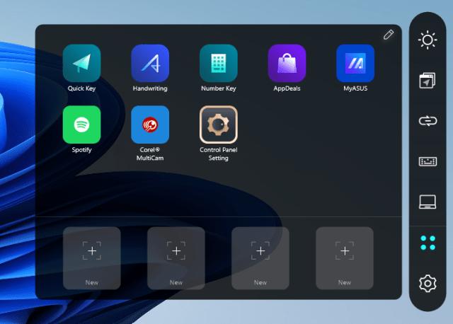 หน้าจอ App shortcut บน ScreenPad+