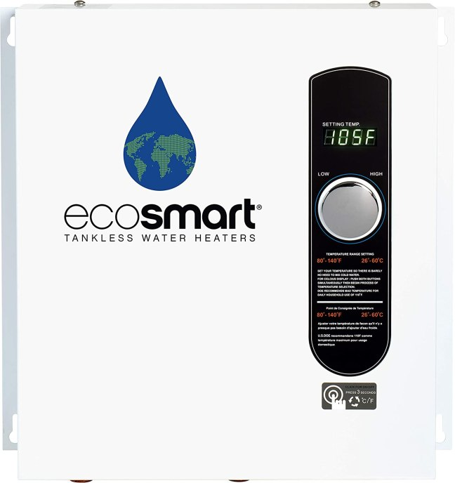 EcoSmart ECO 27 Electric Tankless Water Heater, 27 KW at 240 Volts, 112.5 Amps