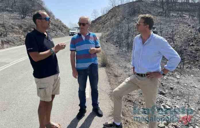 Γάλλος Ευρωβουλευτής επισκέφθηκε τα πυρόπληκτα χωριά της Μεγαλόπολης