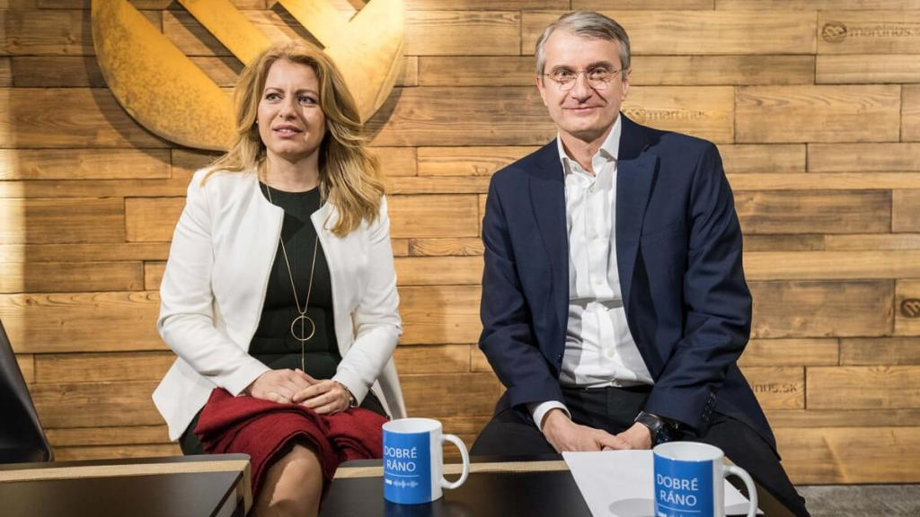 Zuzana Caputova and Robert Mistrik during Slovak election campaign