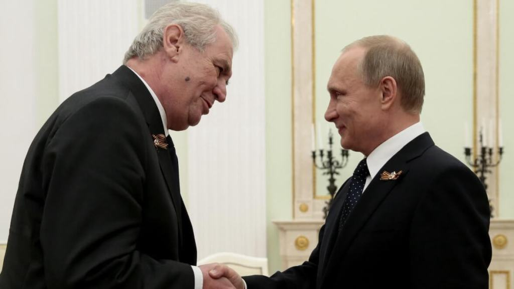 Vladimir Putin greets Milos Zeman in Moscow for the 2015 Victory Day celebrations