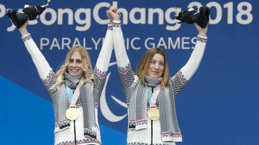 Henrieta Farkasova and her guide at the Paralympic Games 2018 in South Korea