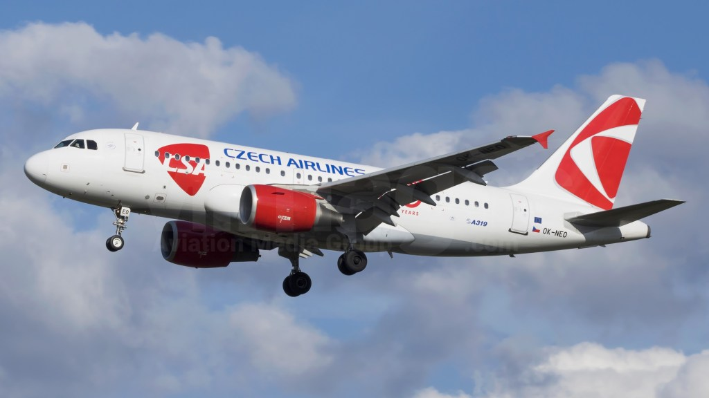 A Czech Airlines plane in the sky during take-off