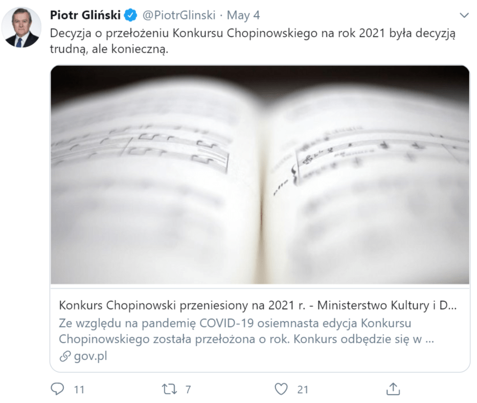 Tweet of Polish Culture Minister Piotr Glinski announcing the cancellation of the 2020 Chopin Piano Competition