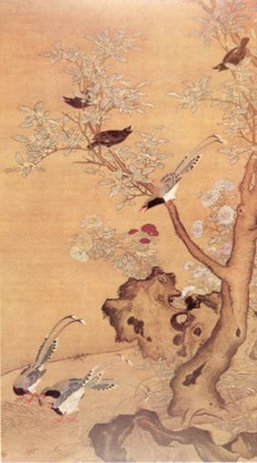 """Sweet osmanthus, Chrysanthemum and Birds"" by Lue Ji, Ming Dynasty. Source: paintingschinese.com"