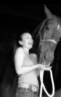 Liz Moores with her horse, Perry. Source: Papillon Perfumery.