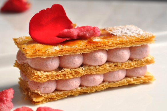Rose millefeuille. Photo & Source (with  recipe): Chef Eddy Van Damme at http://www.chefeddy.com/2010/06/mille-feuille/