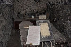 "St. Michan's Church Crypt, Ireland, with some of its coffins but not its ""mummies."" Source: tomguildinireland.wordpress.com"