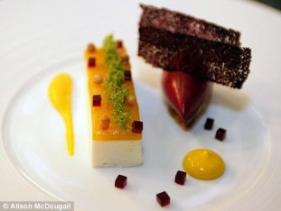 Heston Blumenthal's Mango, Lychee and Douglas Fir Mousse. Photo: Alison McDougall. Source: Daily Mail.