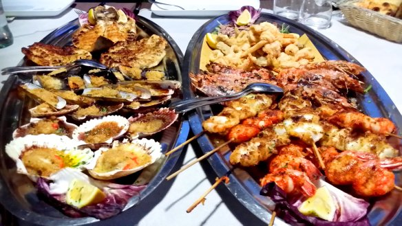 The two insane platters at the end that I had to stand on a chair in order to fit them both into the shot. Photo: my own.