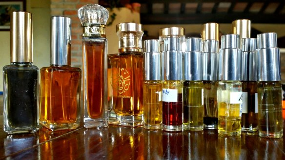 Some of the many perfumes I made. Photo: my own.