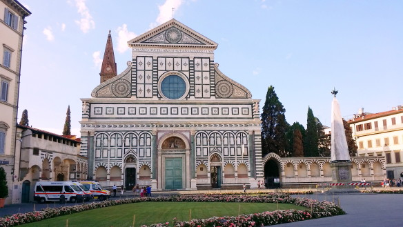 The actual SMN church in its own square, separate from the SMN square or plaza where Florence's train station is. Photo: my own.