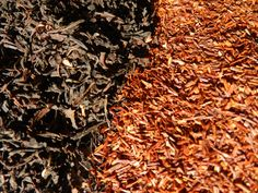 Rooriboos tea leaves on right. Source: ransomnaturals.com