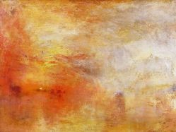"William Turner, ""Sun Setting over a Lake,"" 1840. Source: Pinterest & unique-canvas.com"