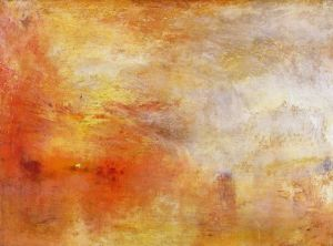 "William Turner, ""Sun Setting over a Lake,"" 1840. Source: Pinterest & unique-canvas.com"