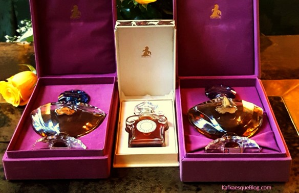 Marly Horse boxes for vintage L'Heure Bleue and Shalimar parfums. Photo & bottles: my own.