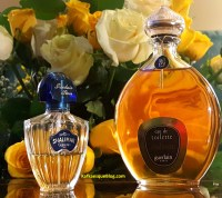 Vintage Shalimar Eau de Toilette, 8 oz 1976 bottle on the right. Small 1998 on the left. Photo: my own.