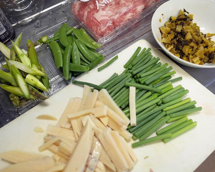 豚肉と春野菜の高菜炒め
