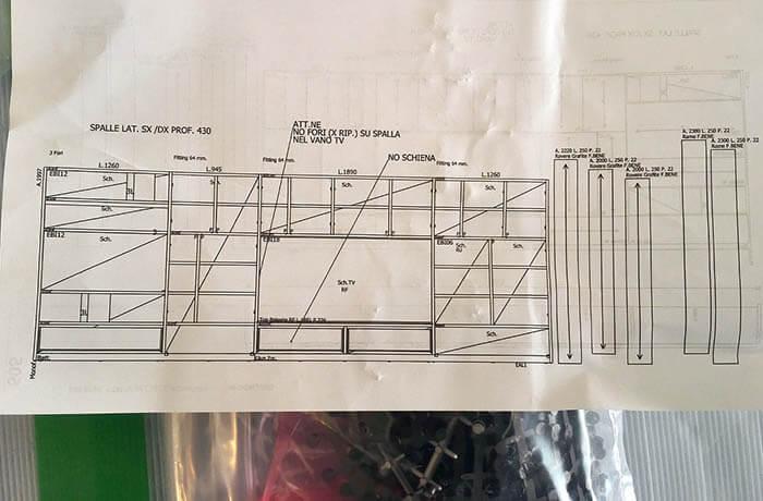 モルテーニ壁面収納の組立図