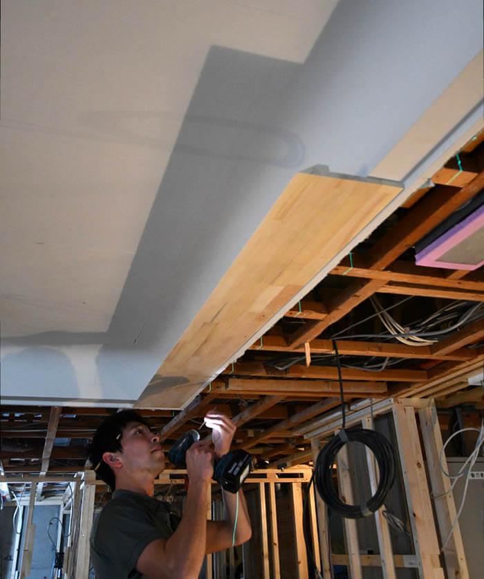 折り上げ天井&間接照明用アゴ造作
