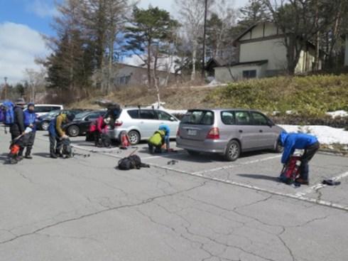 スキー場駐車場到着