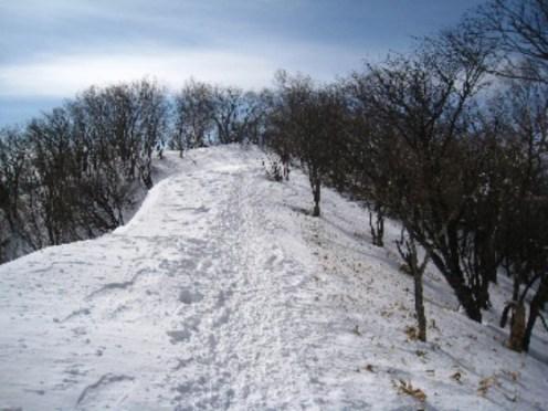稜線の雪道 快適な雪道