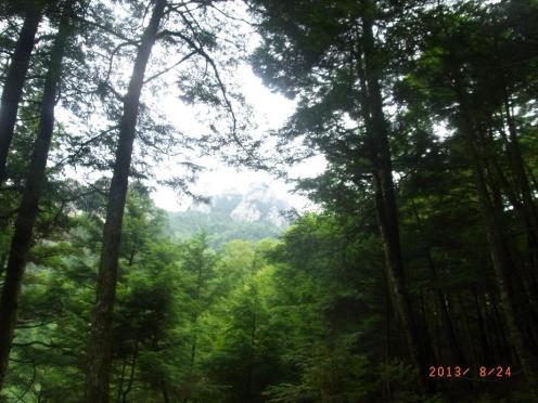 登山道から見えた瑞牆山