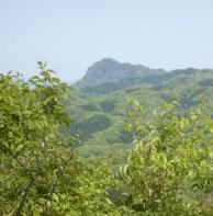 おかめ山東峰から遠く男体山を見る