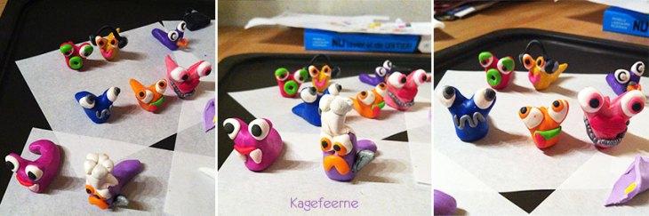 Forskellige snegle modelleret i fimoler