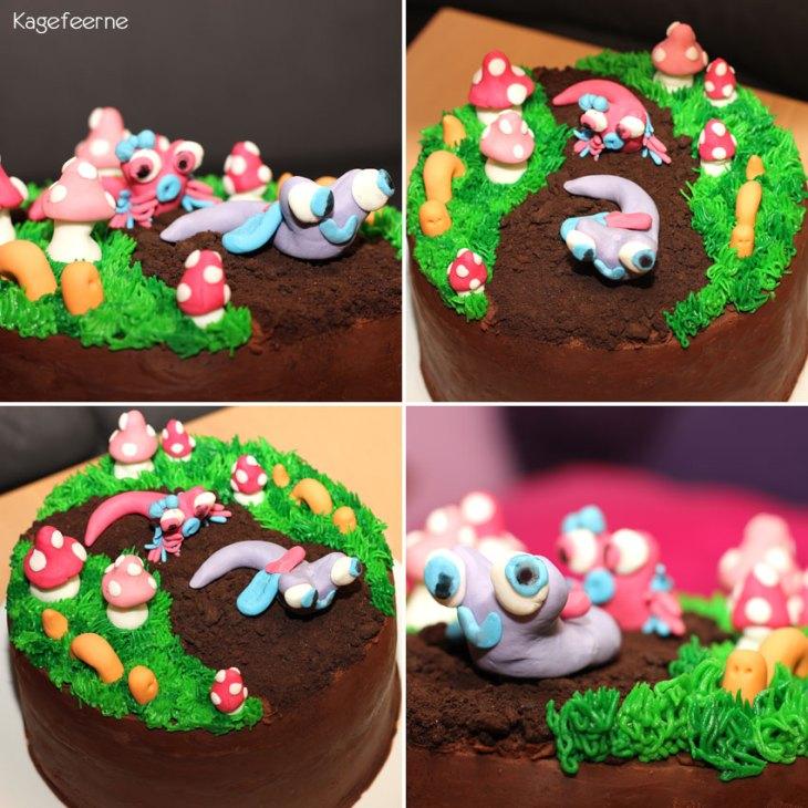 Tæt på fondant snegle, orme og paddehatte på en Jordbunds kage.