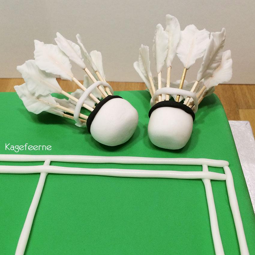 Fjerbold på badminton kage