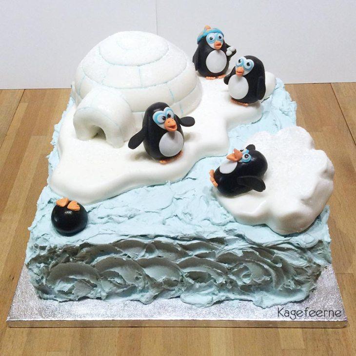 Pingvin og iglo kage beklædt med smørcreme og fondant