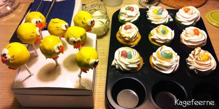 Påskekylling cake-pop serveres sammen med påske cupcakes