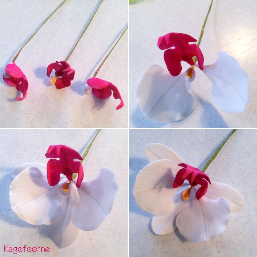 Flowerpaste Orkide på tråd i hvid og pink 4i1