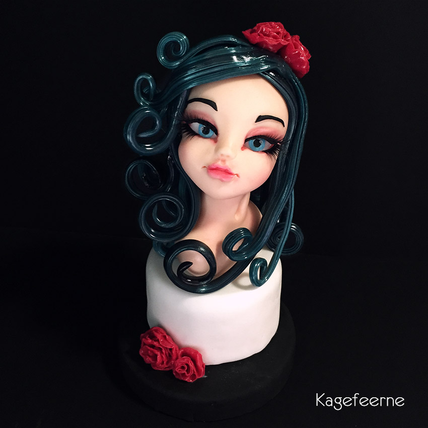 Cake topper of Molly fondant girl with isomalt hair