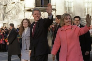 The President, First Lady, and Chelsea on parade down Pennsylvannia Avenue on Inauguration day.