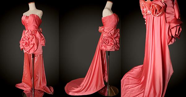 橙色閃片蝴蝶扣連可拆式后長拖尾訂造層層短晚裝裙(可作影PRE-WEDDING相)
