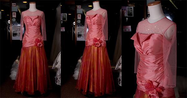 粉橙色上身拉摺中袖圓領A Line晚裝裙(媽咪衫)