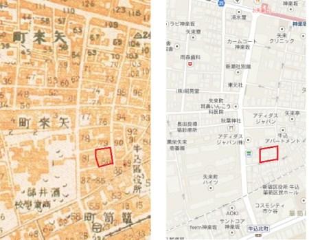 矢来町の地図。色川武大氏