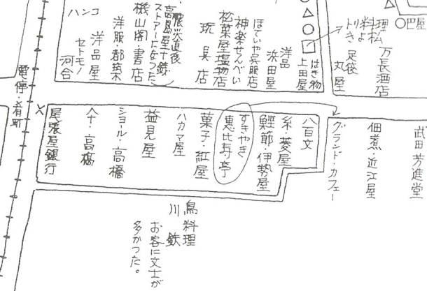 古老の記憶による関東大震災前の形「神楽坂界隈の変遷」昭和45年新宿区教育委員会より