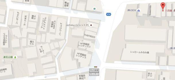現在の地図。漱石公園(左下)と肴屋三四郎(右上)