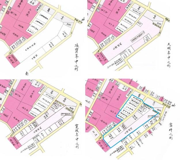 江戸時代の岩戸町。江戸時代の青色の多角形が神社仏閣を除いて明治初期の岩戸町に。左上は延宝年間(1673-81)で留守居があり、右上は天明年間(1781-88)の火除地、左下は寛政年間(1789-1817年)で深川六間堀町の代地が付け加わり、右下は当時(嘉永5年、1852年)。